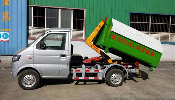 东风小康3方勾臂garbage truck 正左侧面图
