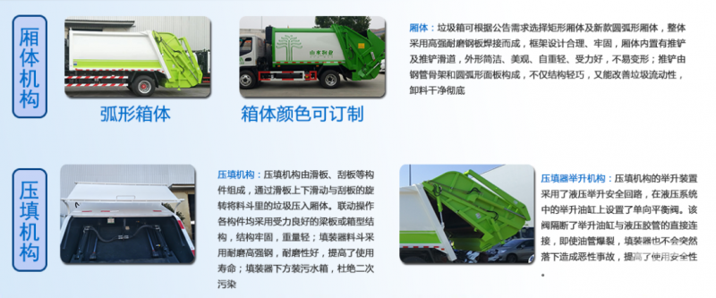 compressed garbage truck 厢体机构及压填机构