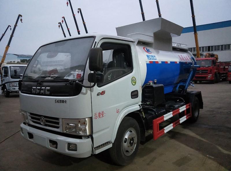 东风多利卡5方餐厨garbage truck 蓝白红三色前左面图